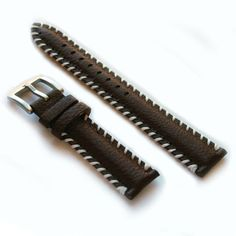 LUX Genuine Leather Rustic Brown Watch Band Strap w/ White Stitch - 20mm & 22mm