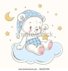 Cute dreaming baby bear cartoon hand drawn vector illustration. Can be used for baby t-shirt print, fashion print design, kids wear, baby shower celebration greeting and invitation card.