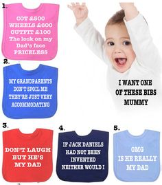 BIB OMG is he really my Dad or  different slogans  bib boy or girl choose a different family member on Etsy, £2.99