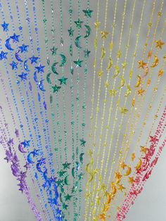 Bohemian Stars And Moons Celestial Beaded Curtain The Iridescent Coating Makes This Sparkle