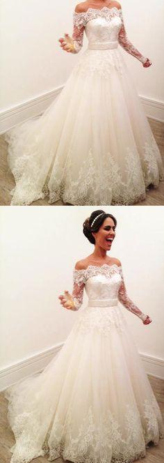Long Sleeve Lace Wedding Dress, Elegant Tulle Wedding Gowns with Appliques, Formal Bridal Dresses P1455 #weddingdresses #longweddingdresses #2018weddingdresses #fashionweddingdresses