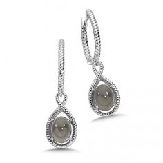 Embody mystery with these Sterling Silver Grey Moonstone Essentials Collection Dangle Hoop Earrings with an open-rope design. Diamond Jewelry, Dangles, Fine Jewelry, Fashion Jewelry, Hoop Earrings, Pendant Necklace, Collection, Sterling Silver, Essentials