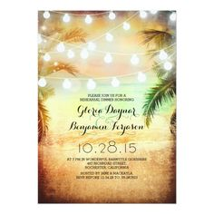 Sunset Beach and String Lights Rehearsal Dinner 5x7 Paper Invitation Card