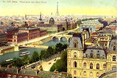 A 1916 postcard of the seven bridges in Paris