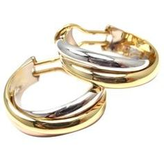 Cartier Trinity two color gold Hoop Earrings