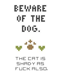 Beware of the Dog MATURE Cross-Stitch Pattern by RebelleCherry