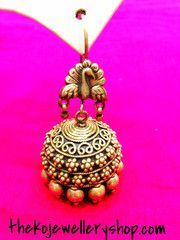 The Silver Tavus Jhumka antique silver jewelry; online shopping; gold covering antique silver jewelry