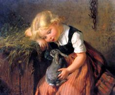 Nancy's Daily Dish: Children and Their Pet Rabbits ~ Antique Oil Paintings