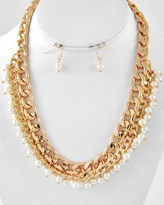 MULTI ROW CHAIN with Pearls Necklace and Earring by RICHGIRLZROCK, $25.00