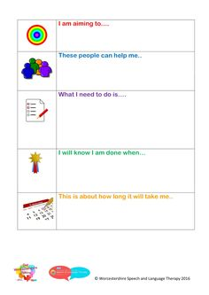 Resource for setting targets with children and young people - target setting - solution focused therapy