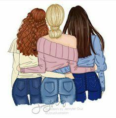 ️*.:。✿*✿✿.:。✿*✿.。.:*✿.✿・。.:* Best Friend Sketches, Friends Sketch, Best Friend Drawings, Bff Drawings, Girl Drawing Sketches, Cute Girl Drawing, Best Friends Cartoon, Friend Cartoon, Cute Friends