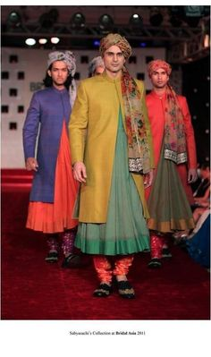 Sabyasachi Sherwani for men. Talk about color block! I like it! Dresses are very cool somwhere in the world.