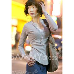 $4.97 Fashionable V-Neck Buttons Embellished Solid Color Long Sleeves Casual Cotton Blend T-Shirt For Women