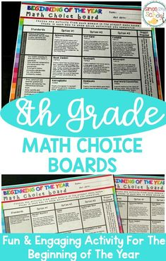 8th grade beginning of the year math choice boards are a great project to do the first week of school.  These fun and engaging activities are great low prep activities that help teachers determine if students have gaps.  Math choice boards are a great differentiation tool and students love the opportunity for choice.  #mathchoiceboards #choiceboards