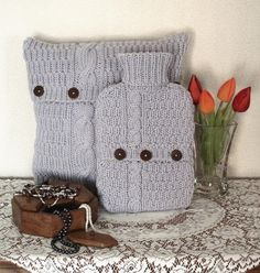 Shabby chic cashmere blend bedroom set,pale lilac grey cushion cover and hot water bottle cover - A Crooked Sixpence