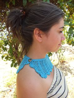 FREE SHIP blue  crocheted Collar Necklace blue by JasmneAccessores, $20.90
