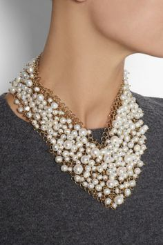 Osiris Gold-Dipped Pearl Necklace, $845, Rosantica