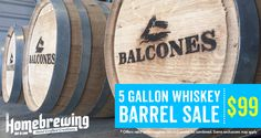 Our 5 Gallon Used Whiskey Barrel from Balcones Distilling makes a great vessel for infusing whiskey and oak into your favorite homebrews. These barrels come with a stand and a rubber bung. Used Whiskey Barrels, Homebrewing