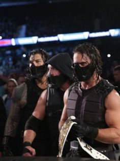 The Shield backstage with masks Wwe Superstar Roman Reigns, Wwe Roman Reigns, Wrestling Superstars, Wrestling Wwe, Beautiful Joe, Wwe Raw And Smackdown, Wrestlemania 29, Roman Reigns Dean Ambrose, The Shield Wwe