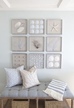 Love this beachy vignette featuring sanddollars, seashells and sea fans! The identical frame designs and size makes for an orderly grouping of organic items. A lovely way to bring it together in one cohesive space! AGK Design Studio | El Carmel