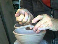 SIMON LEACH POTTERY CERAMICS ~ Handle cut outs for double veggie bowls ! - YouTube