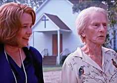Kathy Bates Jessica Tandy in front of the Church in Fried Green Tomatoes filmed in Juliette Georgia Fried Green Tomatoes Movie, Fried Tomatoes, Jessica Tandy, Blue Parakeet, Green Tomato Recipes, Film Song, Georgia On My Mind, Movie Marathon