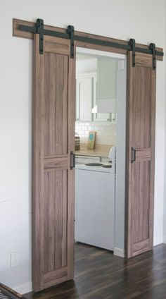 Easy to install barn door Our House Now a Home - August 03 2019 at Barn Door Pantry, Barn Door Closet, Diy Barn Door, Barn Wood Decor, Cupboard Doors, Barn Door Hardware, Double Sliding Barn Doors, Half Doors, Barn Door Designs