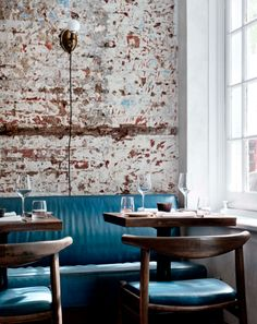 UPHOLSTERY| teal leather inspirations bench seats in rustic chic restaurant The Musket Room