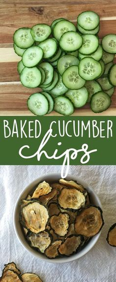 Crunchy and healthy snack recipe - baked cucumber chips! Super easy and kid appr. Crunchy and healthy snack recipe – baked cucumber chips! Super easy and kid approved snack. A gre Vegan Healthy Snacks, Healthy Chips, Healthy Baking, Vegan Recipes, Snack Recipes, Cooking Recipes, Paleo, Keto, Skillet Recipes
