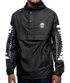 87aade603f5 HUF x Thrasher TDS Black Anorak Windbreaker Jacket