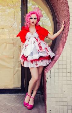 HALLOWEEN COSTUME Little Dead Riding Hood Faery Bloody Vampire Dress & Cape by Janice Louise Miller. $329.00, via Etsy.