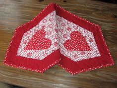 Hand Made Valentine Quilted Table Runner, Valentine Table Runner With Heart  Applique, Red And