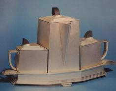 "Art Deco International Silver Company ""Diament"" tea service designed by Gene Theabold. Silver plate and Bakelite. #artdecoelegance #teaservice #artdeco"