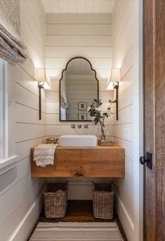 This would be lovely in a tiny house.Farmhouse Bathroom with shiplap walls, floating wood slab vanity and Roman shades. Farmhouse Bathroom with shiplap walls, floating wood slab vanity and Roman shades Wright Design Bad Inspiration, Bathroom Inspiration, Bathroom Ideas, Bathroom Renovations, Design Bathroom, Bathroom Sinks, Remodel Bathroom, Vanity Design, Bathroom Makeovers