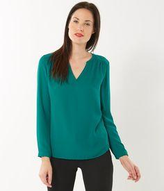 Blouse manches longues à porter sur un T-shirt manches longues pour conserver la chaleur, sans s'encombrer d'un pull.