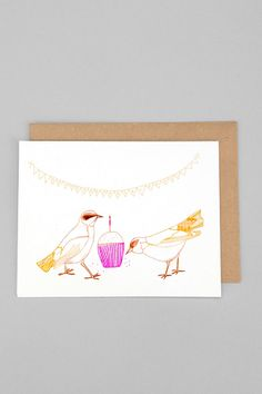 Bird Cupcake Birthday Card #urbanoutfitters