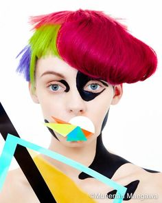 """The combination of straight line and curve.Organic form, the comparison with the person.The idea from a plane. An invisible line.A pop experiment such as """"child play. Fantasy Hair, Fantasy Makeup, Pop Art Fashion, Avant Garde Hair, Le Clown, Photoshop, Make Up Art, Doll Painting, Hair Shows"""