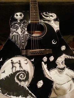 Nightmare Before Christmas Inspired Guitar ft. Jack Skellington, Oogie Boogie, Jack & Sally and Zero! by ChildatHeartPainter on Etsy https://www.etsy.com/listing/158901804/nightmare-before-christmas-inspired