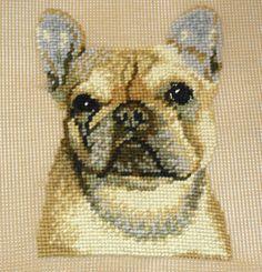 French Bulldog Needlepoint Kit Presewn * Frenchie Needlepoint Hot Diggity Dog Fabrics by HotDiggityDogFabrics on Etsy