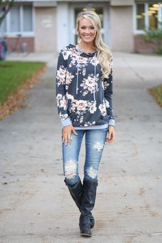 Floral Hoodie - Charcoal – The Pulse Boutique