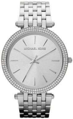 """Michael Kors Women's MK3190 Silver Stainless-Steel (SS) Quartz Watch with BEAUTIFUL Silver DIAL; RPR: £180; PRICE: £117 (FREE Delivery). You SAVE £63 (35%). OUTSHINING Glitz Watch; SS Case; Silver SS BRACELET; Water-Resistant; a MASTERPIECE.   """"EXCELLENT"""