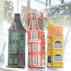 Trio of Rowhouse Sculptures Architectural Sculpture, Window Detail, Putz Houses, Glitter Houses, Sculptures, Miniatures, Pottery, Ceramics, Studio