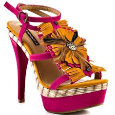 Shoe Republic   Fact - Fuchsia Pink Heels with plaid trim and yellow flower on instep
