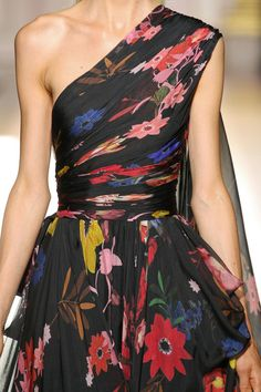 Colorful floral print one-shoulder black gown | Zuhair Murad - Couture FW 12/13