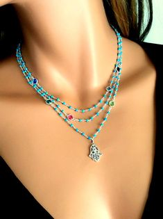 Hamsa Necklace Turquoise Gemstone Swarovski by divinitycollection, $165.00