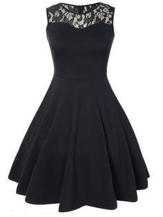 Black Sleeveless Lace Top A Line Flare Dress