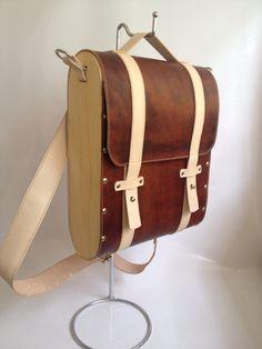 Leather wood bag, backpack