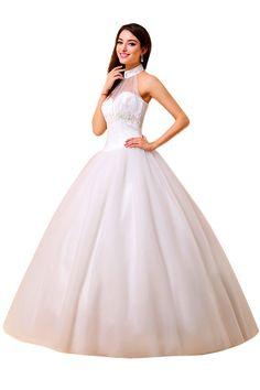 Halter Floor-Length Bridal Ball Gowns Wedding Dresses http://www.ikmdresses.com/Halter-Floor-Length-Bridal-Ball-Gowns-Wedding-Dresses-p88030