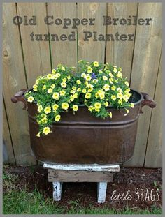 Just Love using Old Copper Boiler Turned Planter I wanted to share another cool new find with you. I turned this old copper boiler into a planter for the front yard. Check out my previous post for some inspiration http://littlebrags.blogspot.com/2013/06/cute...