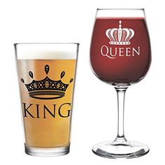 King Beer Queen Wine Glass- 16 oz. Pint Glass, 12.75 oz. Wine Glass - Cool Present Idea for Wedding, Anniversary, Newlyweds, and Couples- Mom and Dad, Him or Her, Mr. Mrs. (Set of 2) #affiliate